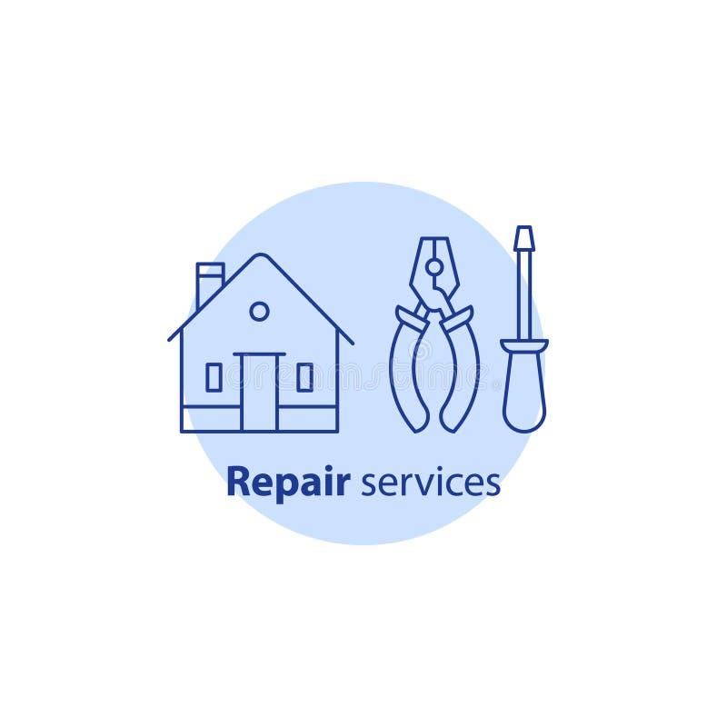 Equipamento e manutenção da melhoria home, serviços de reparações da casa, alicates e ferramentas da chave de fenda, ícone do cur ilustração do vetor