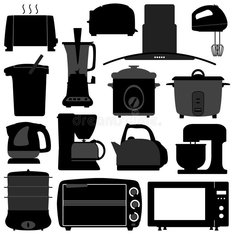 Equipamento elétrico eletrônico de dispositivos de cozinha ilustração do vetor