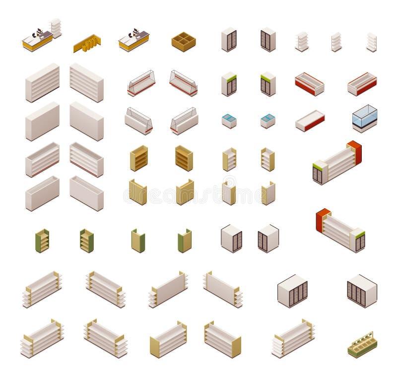 Equipamento isométrico do supermercado do vetor ilustração stock