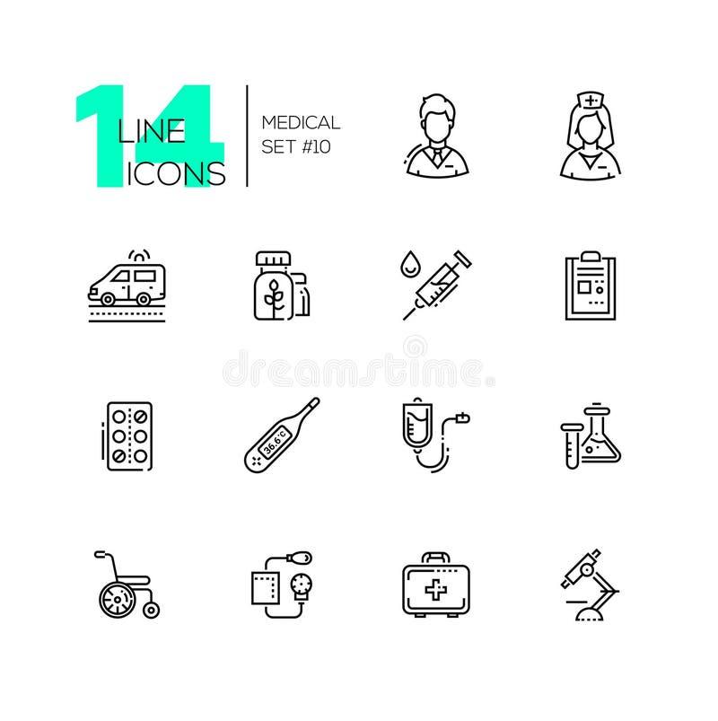 Equipamento médico - linha ícones ajustados ilustração royalty free