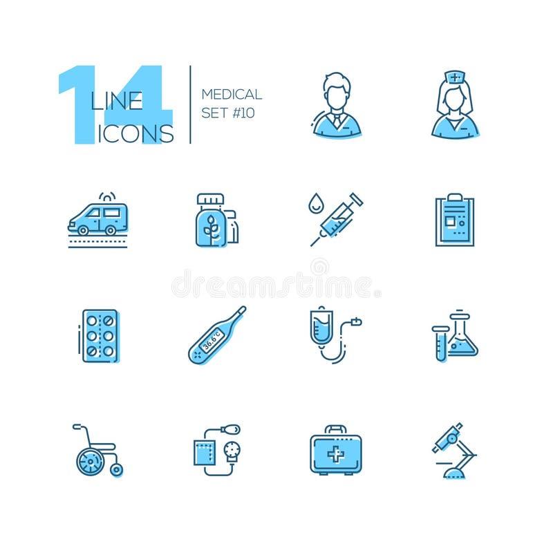 Equipamento médico - linha ícones ajustados ilustração do vetor