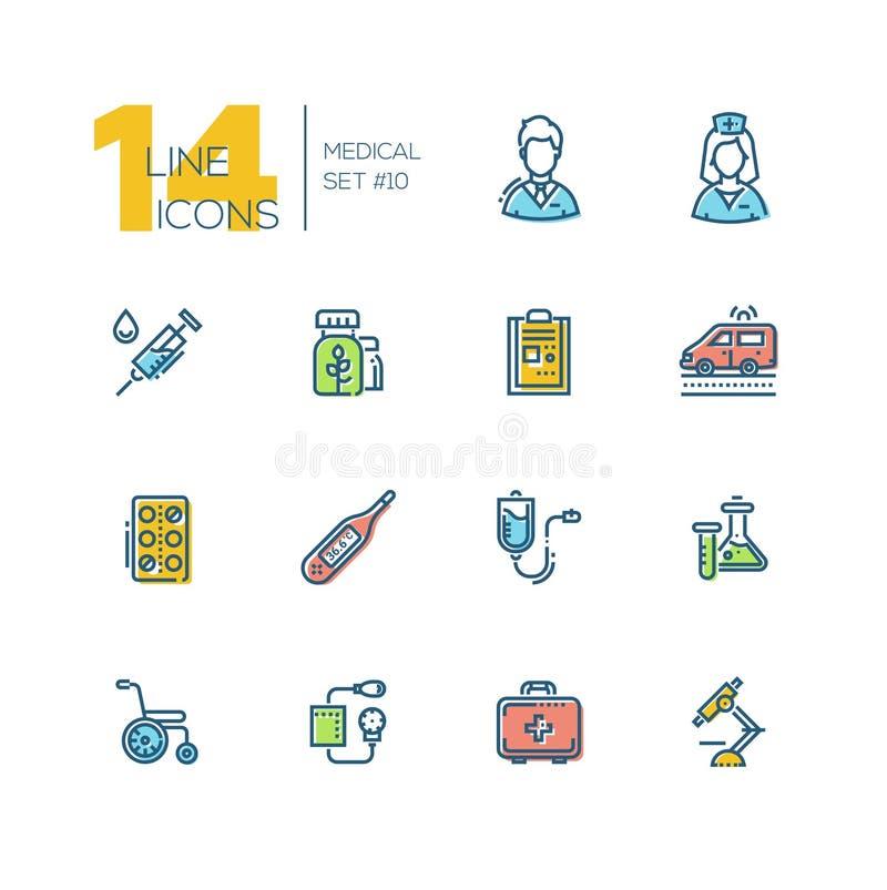 Equipamento médico - linha grossa ícones ajustados ilustração stock