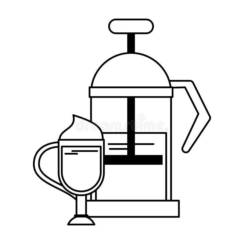 Equipamento manual do coffeeshop do fabricante de caf? em preto e branco ilustração stock