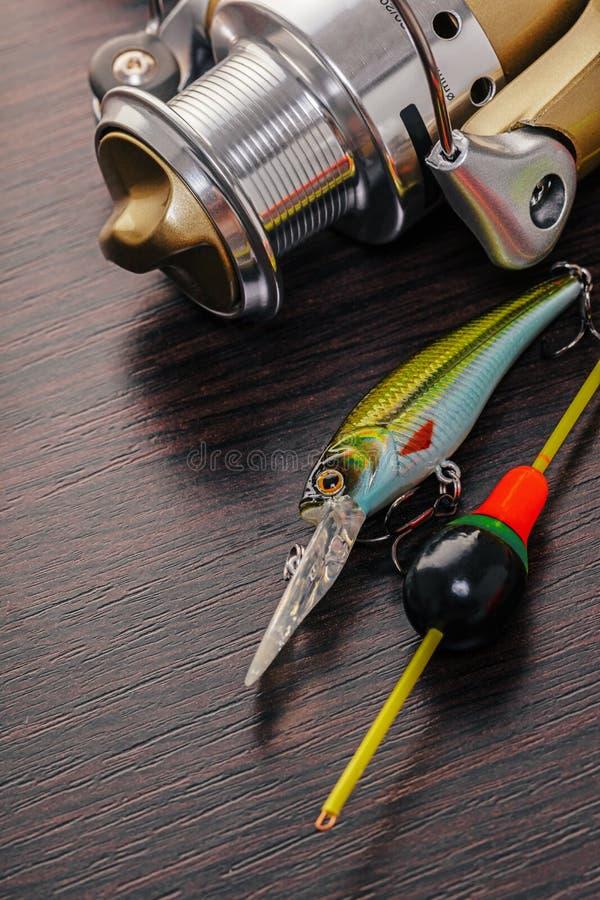 Equipamento para as varas de pesca imagens de stock