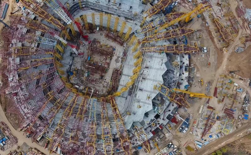 Equipamento para a construção do estádio foto de stock royalty free