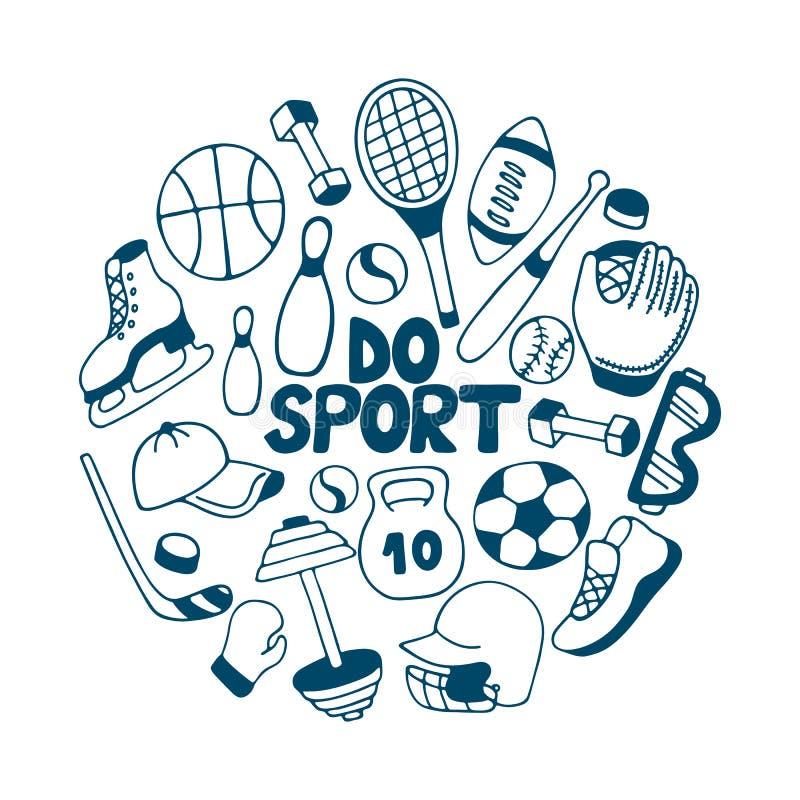 Equipamento para esportes do inverno e do verão baseball Futebol americano hockey ilustração do vetor