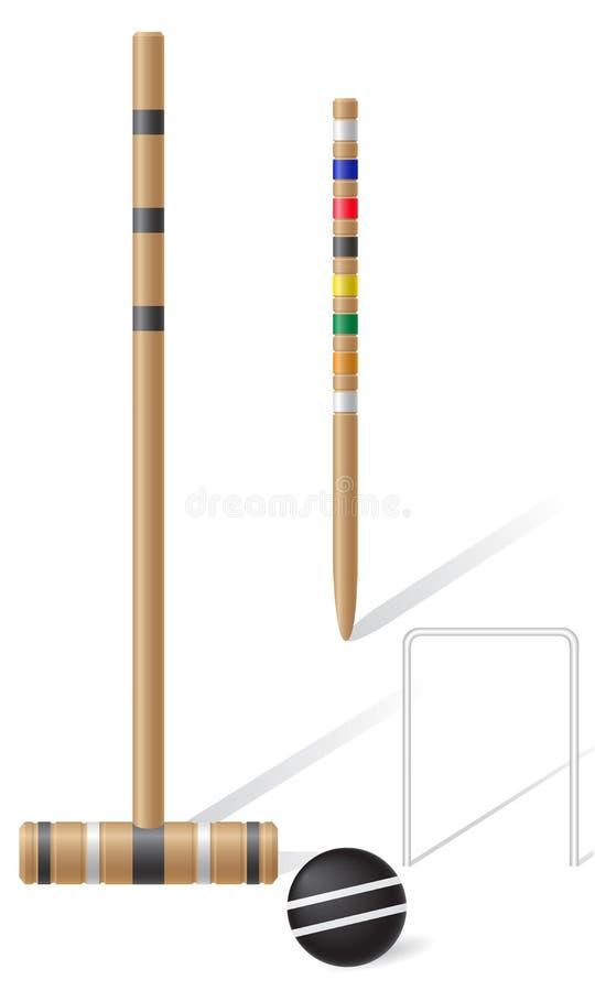 Equipamento para a ilustração do vetor do cróquete ilustração stock