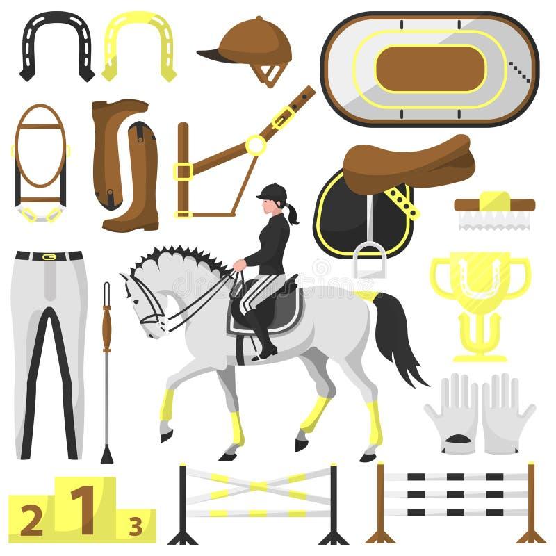 Equipamento para montar, cavaleiro do vetor ilustração do vetor
