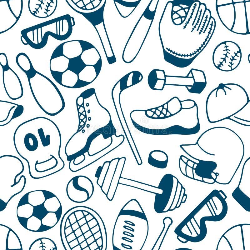 Equipamento para o teste padrão sem emenda dos esportes do inverno e do verão baseball Futebol americano hockey ilustração do vetor