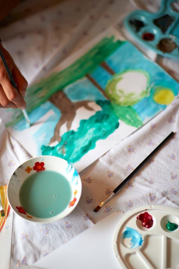 Equipamento para pintar no papel imagens de stock royalty free