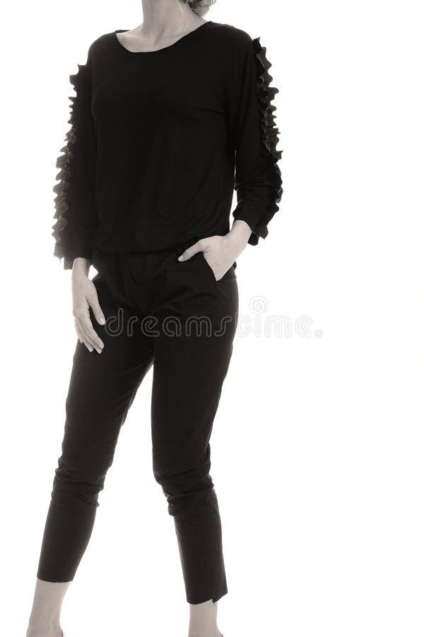 Equipamento preto elegante para mulheres no estúdio fotografia de stock royalty free