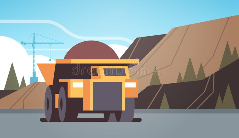 Equipamento profissional de caminhões de lixeira pesada de cor amarela que trabalha na produção de minas de carvão conceito de tr ilustração stock
