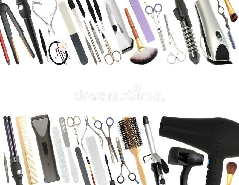 Equipamento profissional do salão de beleza e da barbearia isolado imagens de stock
