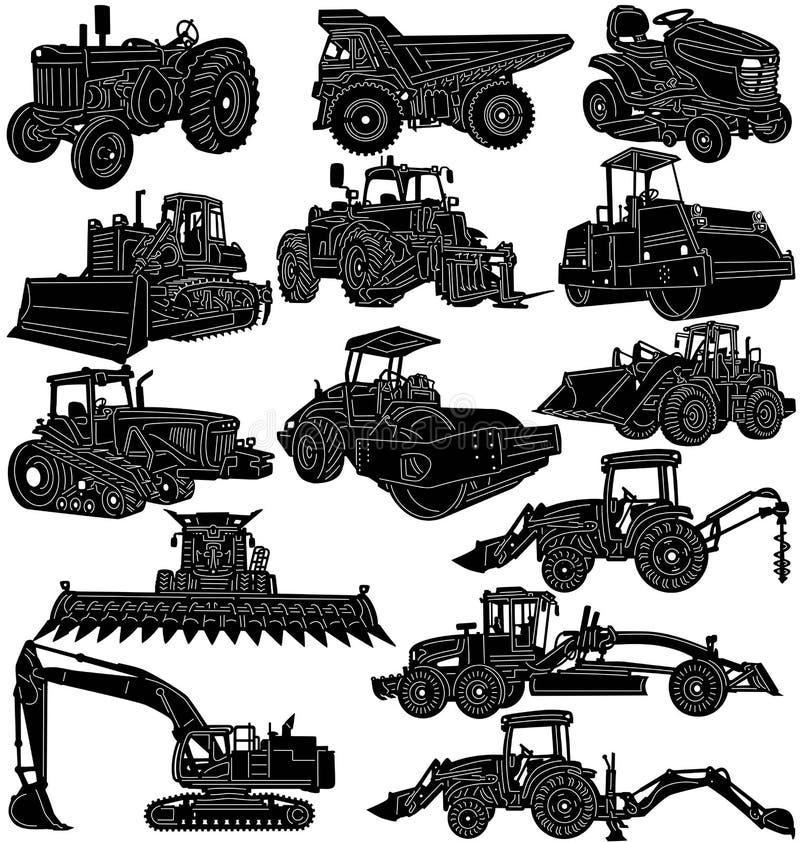 Equipamentos da construção e de exploração agrícola detalhados ilustração stock