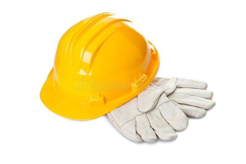 Equipamentos de construção da segurança no fundo branco imagens de stock