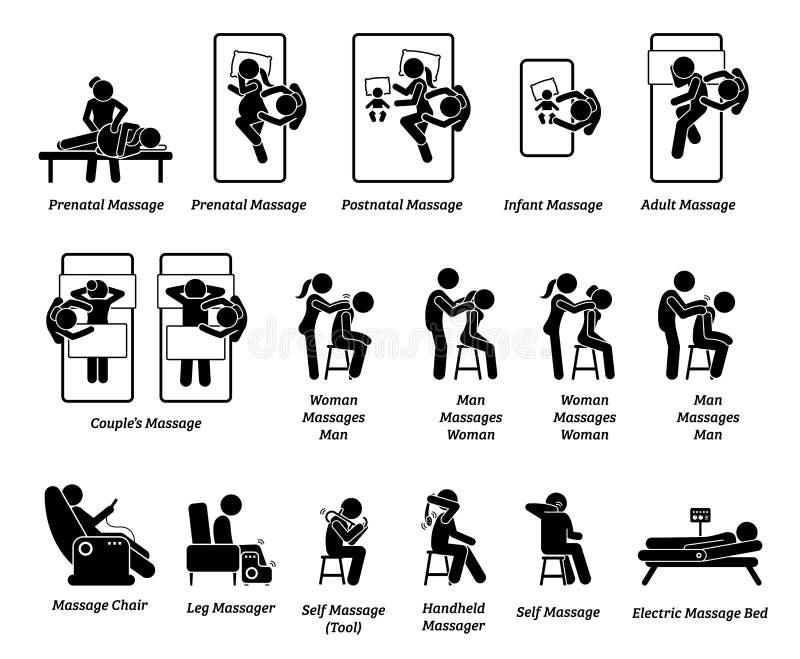 Equipamentos humanos do massagista e da massagem ilustração royalty free