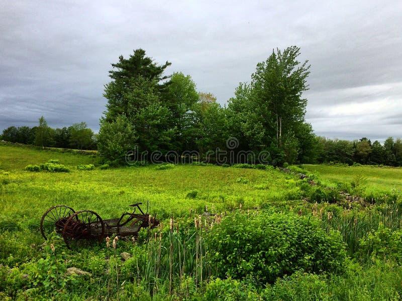 Equipamiento agrícola de Rustry en campo herboso imagen de archivo