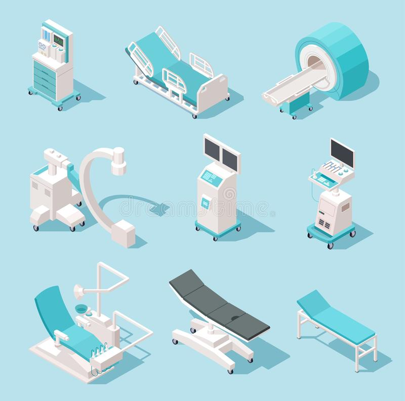 Equipamiento médico isométrico Herramientas de diagnóstico del hospital Sistema del vector de las máquinas de la tecnología 3d de ilustración del vector
