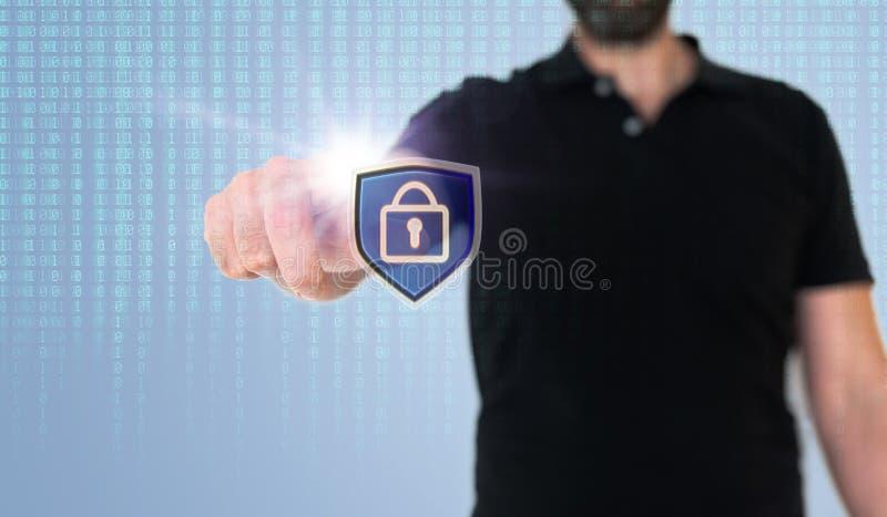 Equipe ícone tocante da privacidade da segurança de dados ou de dados na tela translúcida com código binário imagem de stock