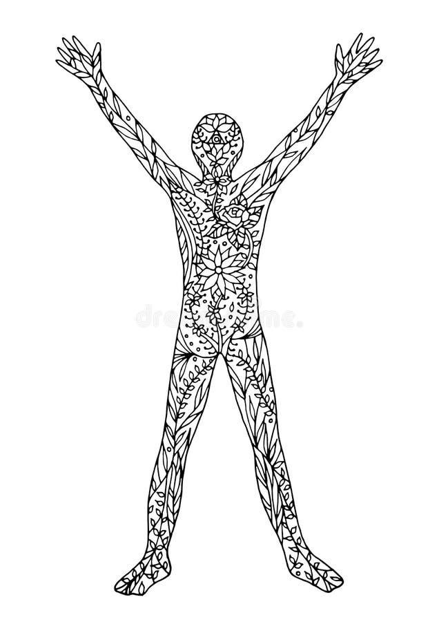Equipe a abertura do suporte com mundo, mão do vetor do poder do universo tirada ilustração royalty free