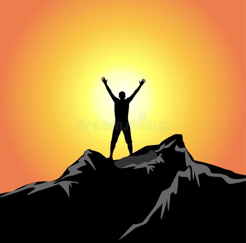 Equipe as mãos da silhueta acima no sucesso da liberdade do ar ilustração do vetor