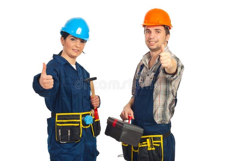Equipe bem sucedida de trabalhadores do construtor fotografia de stock royalty free