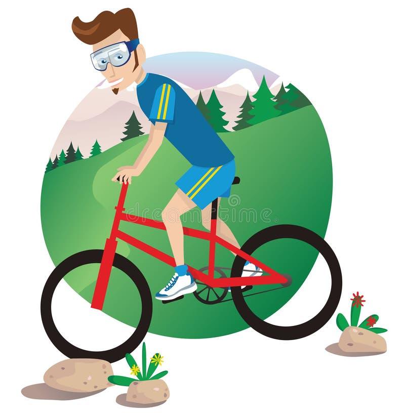 Equipe biking da montanha ilustração stock