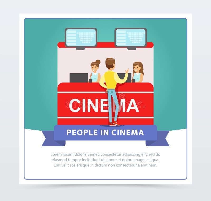 Equipe bilhetes de compra na bilheteira, povos no elemento liso do vetor da bandeira do cinema para o Web site ou o app móvel ilustração royalty free