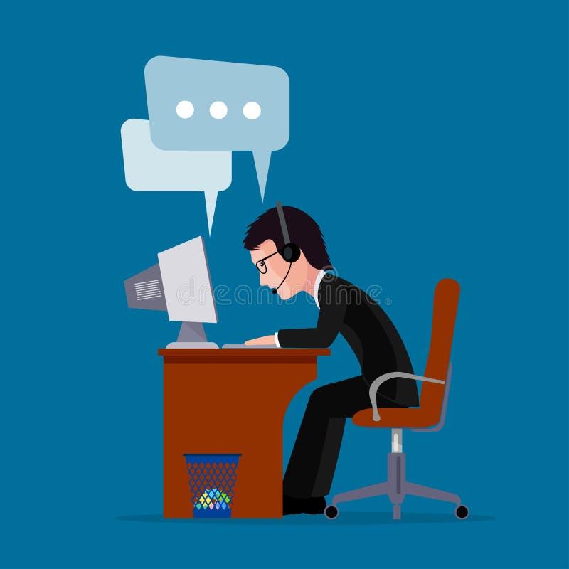 Equipe a chamada do centavo do trabalhador do homem de negócios distante fora com clientes ilustração royalty free