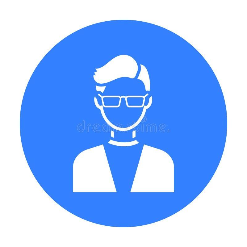 Equipe com preto do ícone dos vidros Único avatar, ícone do peaople do preto grande do avatar ilustração stock
