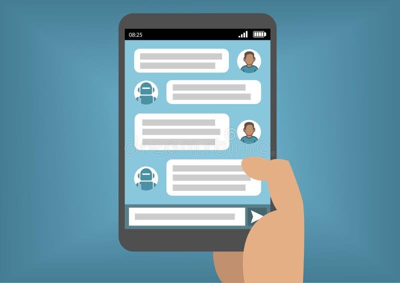 Equipe a comunicação com o bot do bate-papo através de Instant Messenger como exemplo da inteligência artificial ilustração stock