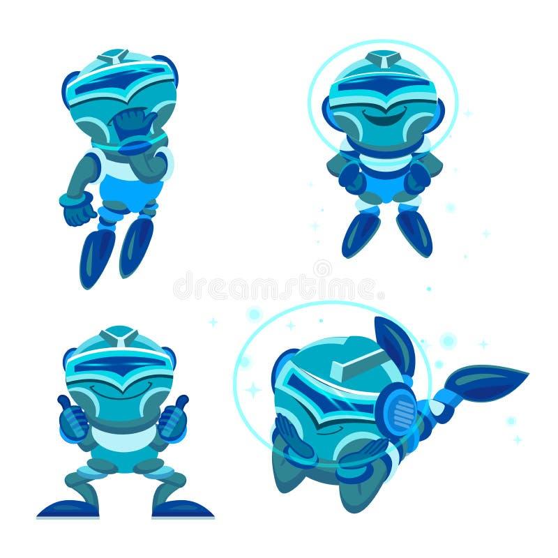 Equipe a comunicação com o bot do bate-papo através de Instant Messenger como exemplo da inteligência artificial Robô do azul do  ilustração do vetor