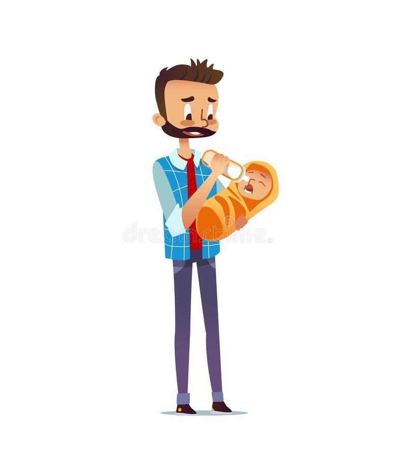 Equipe a criança recém-nascida guardando e de alimentação com garrafa de cuidados Paizinho que dá o leite ao infante Único pai qu ilustração royalty free