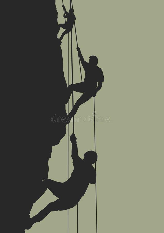 Equipe da escalada de rocha ilustração royalty free