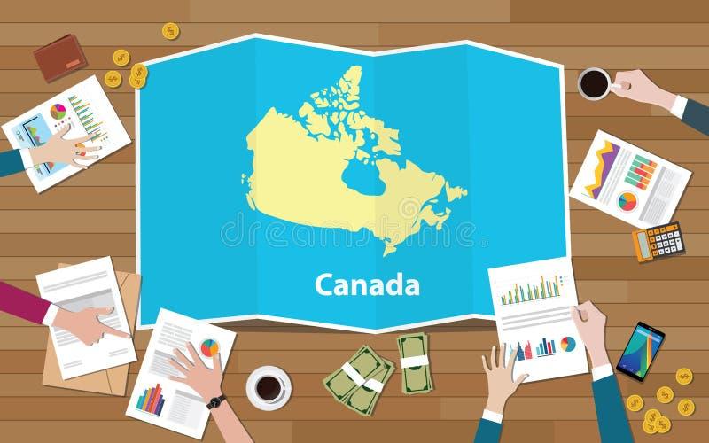 A equipe da nação do crescimento do país da economia de Canadá discute com a opinião dos mapas da dobra da parte superior ilustração do vetor