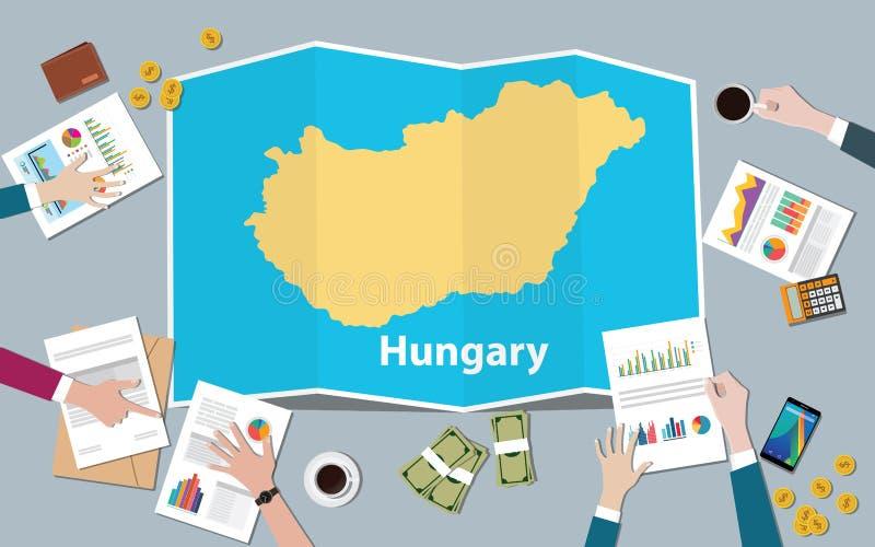 A equipe da nação do crescimento do país da economia de Hungria discute com a opinião dos mapas da dobra da parte superior ilustração do vetor