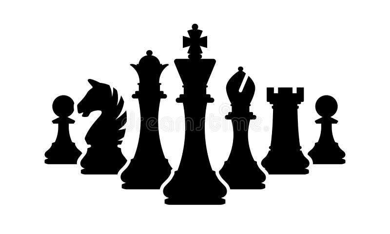 Equipe das partes de xadrez do vetor isolada no branco Silhuetas de partes de xadrez ilustração stock