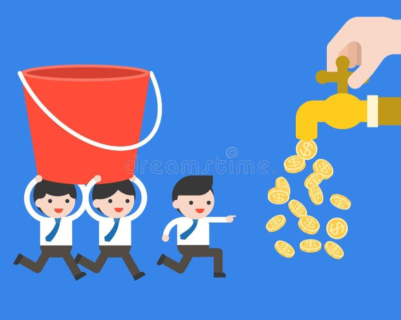 A equipe de Businessman's leva uma cubeta à torneira do dinheiro, conce do negócio ilustração royalty free