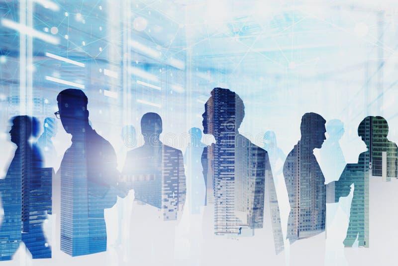 Equipe de coordenadores de computador na sala do servidor, rede ilustração stock