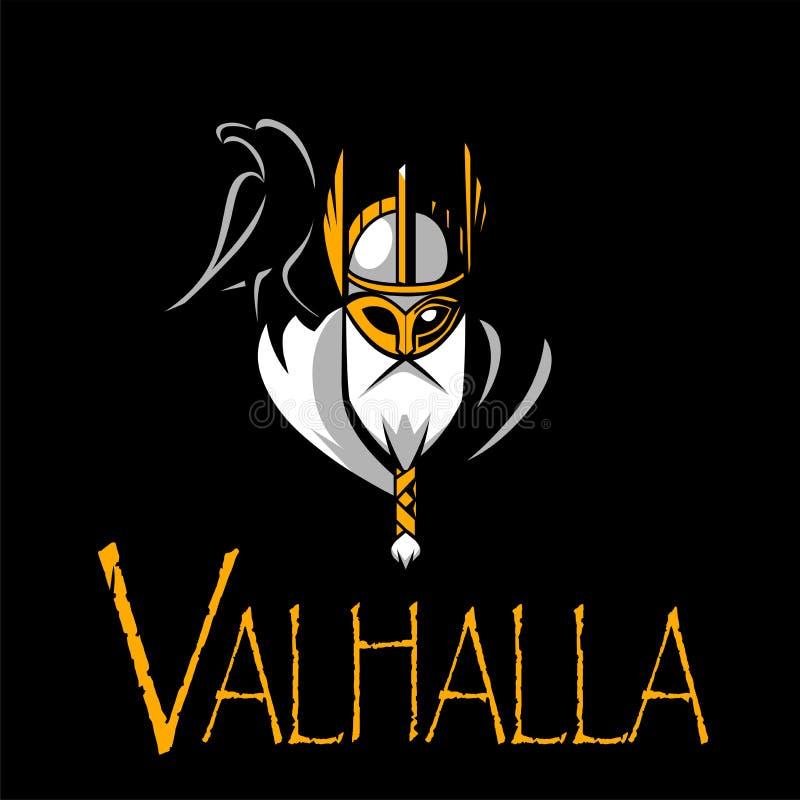 Equipe de esporte da ilustração de Odin do deus ou liga escandinava Logo Template Cabeça do guerreiro poderoso na mascote do capa ilustração royalty free
