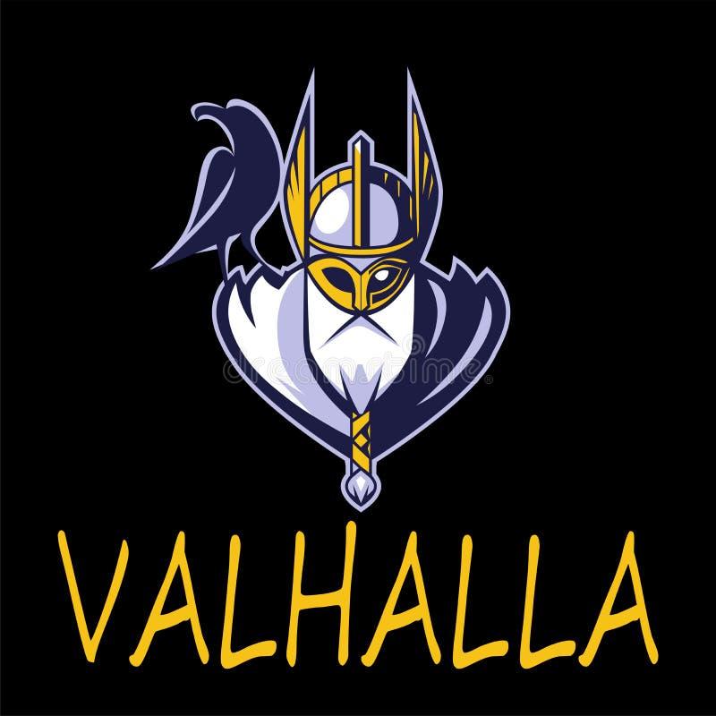 Equipe de esporte do vetor da ilustração de Odin do deus ou liga escandinava Logo Template Cabeça do guerreiro poderoso na mascot ilustração royalty free