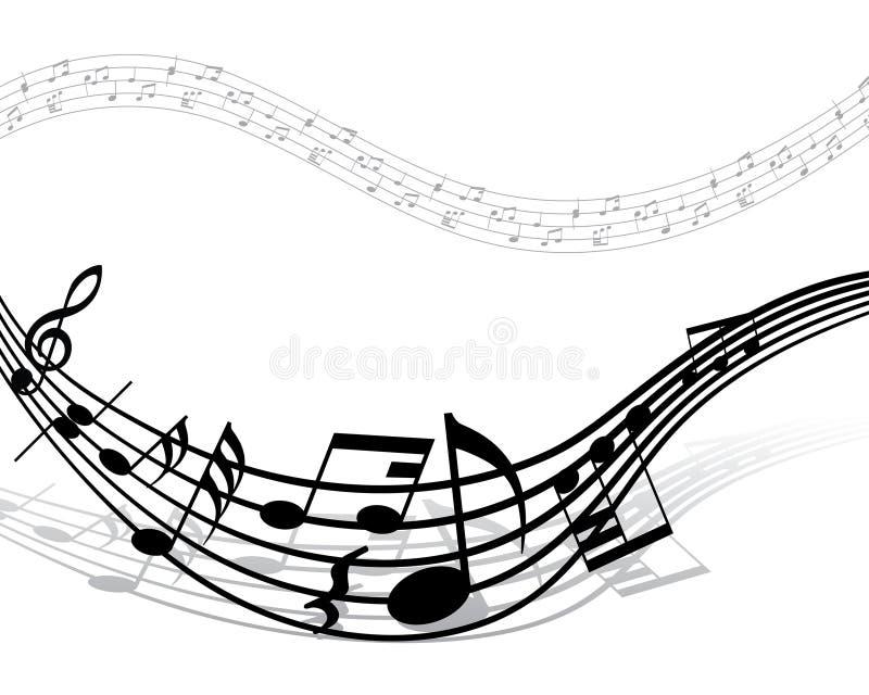 Equipe de funcionários das notas musicais ilustração stock