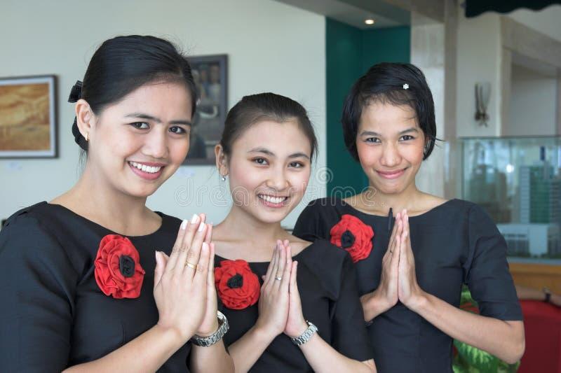 Equipe de funcionários de três hotéis imagens de stock royalty free