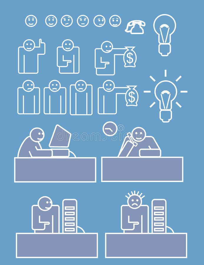 Equipe de funcionários do negócio que trabalha duramente ilustração do vetor
