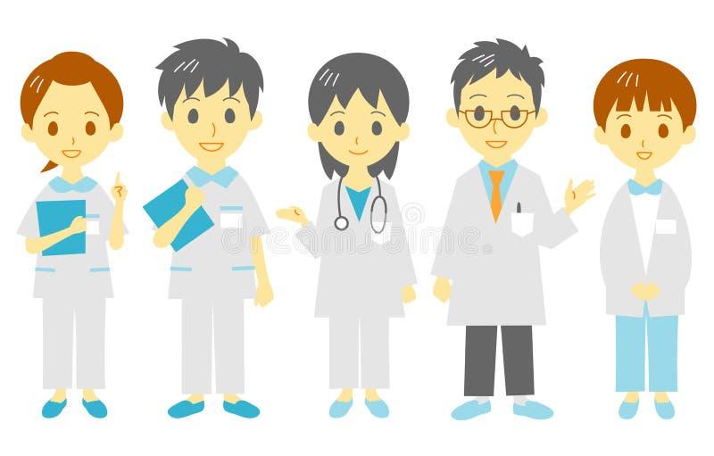 Equipe de funcionários médica ilustração stock