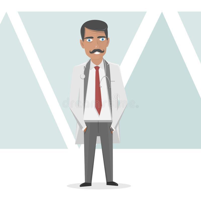 Equipe de funcionários médica Doutor em um revestimento branco do laboratório Ilustração da medicina do vetor ilustração stock