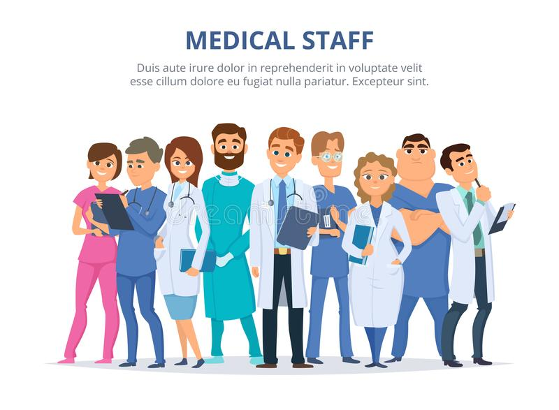 Equipe de funcionários médica Grupo dos doutores masculinos e fêmeas ilustração royalty free