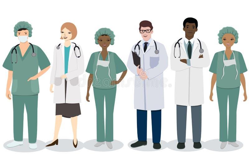 Equipe de funcion?rios m?dica Um grupo de profissões médicas dos homens e das mulheres Imagem do vetor isolada no fundo branco ilustração do vetor
