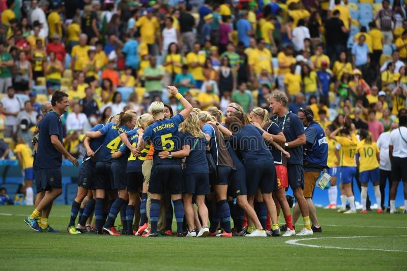 Equipe de futebol das mulheres brasileiras foto de stock royalty free