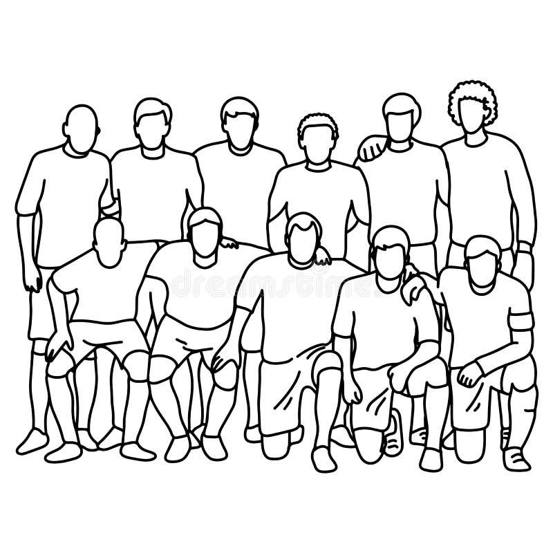 Equipe de futebol masculina do futebol que toma a m?o da garatuja do esbo?o da ilustra??o do vetor da foto tirada com as linhas p ilustração stock
